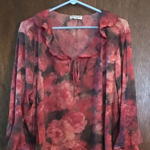 Avenue Red Floral Bell Sleeve Top Size 14 16 18 20